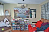 Vista de interior de estudio de artista. El amplio cuadro del paisaje le confiere profundidad.