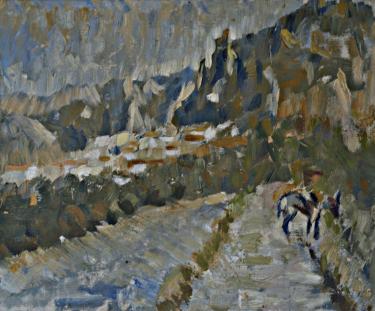 Óleo sobre lienzo de estilo impresionista del pueblo de Albanchez en la sierra de Mágina (Jaén)